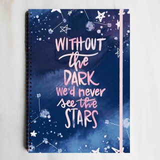 Dark Stars Quote Spiral Ruled Notebook Diary Journal Buku Tulis Catatan