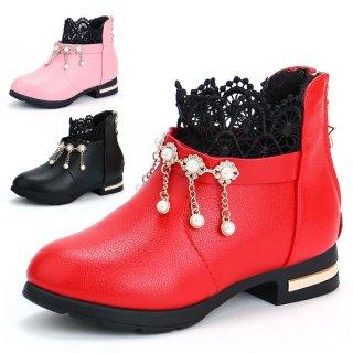 Sepatu Princess Lace Velvet Korea Anak Perempuan Aksen Pita