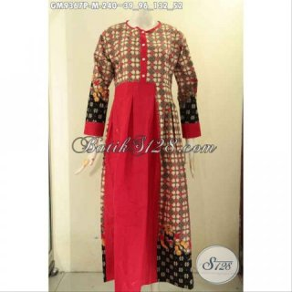 Baju Gamis Batik Istimewa Desain Mewah Berkelas Kombinasi Kain Polos