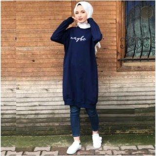 Naum Kaos Atasan Wanita Tunik Maybe - Kaos Tunik Panjang