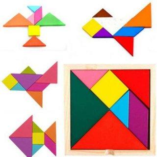 Puzzle Geometris Tangram Kayu