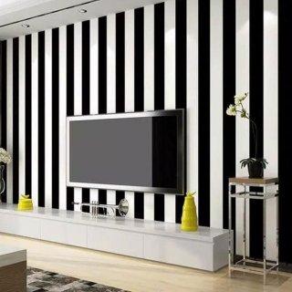 OEM Motif Garis Wallpaper Dinding - Hitam Putih
