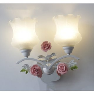 Bedside Rose Wall Glass Lamp