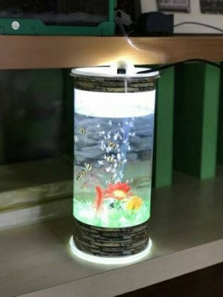 Aquarium Mini Plus Lampu dan Mesin Aerator Oxygen