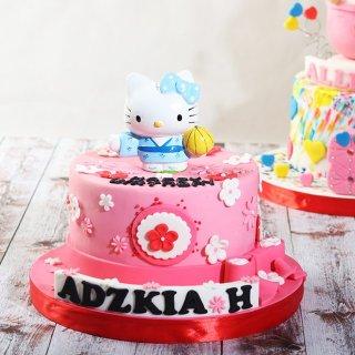 Kue Ulang Tahun model Hello Kitty / Diameter 16 cm / Kue Coklat