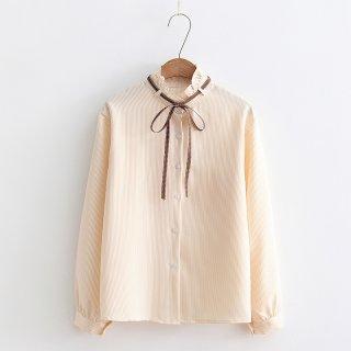 Baju Wanita Lengan Panjang Model Longgar Aksen Pita Ruffle untuk Musim Gugur 4685
