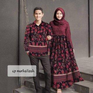 Baju Couple Batik Nurhalizah Paya Maroon