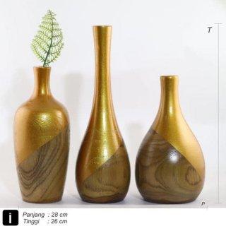 Vas bunga Kayu Jati Solid Handmade Natural with GOLD