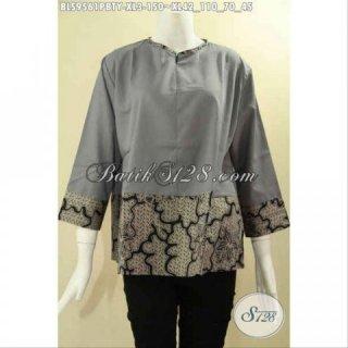 Baju Atasan Batik Wanita Model Blouse Tanpa Krah Kombinasi Kain Polos Katun Toyobo
