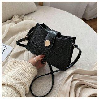 Tas Selempang Kecil Import Kulit Croco Murah Branded Fashion Korea Hitam TA125B5