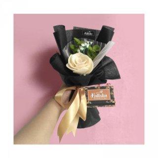 Hallolia Craft Single Mawar Putih Bucket Bunga
