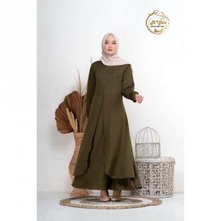 Sasmita Dress Varian Army | Fashion Muslim Gamis