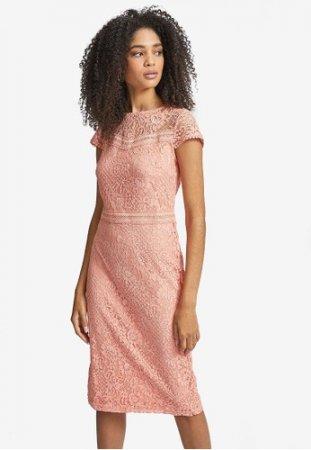 Dorothy Perkins - Coral Lace Trim Pencil Dress
