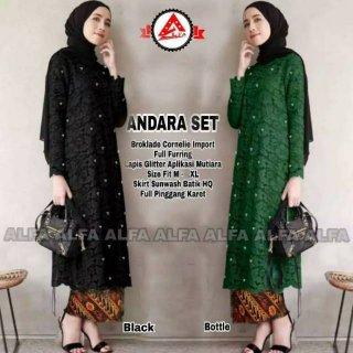 Setelan Kebaya Vanya Jacquard Warna Black Andara Set