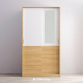 Dekoruma Sano Lemari Pakaian 2 Pintu Sliding Door Minimalis Kayu Olahan dengan Kaca Cermin