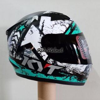 Helm KYT Full Face R10 Motif Seri 3 Black Aqua Blue