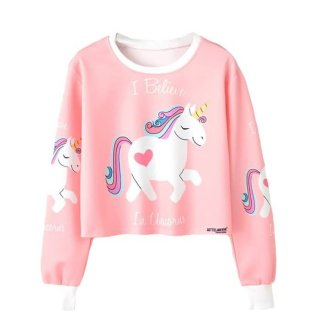 Sweater Wanita Crop I Believe Unicorn - Pink