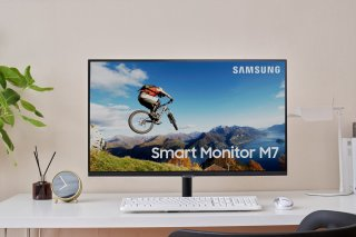 """Samsung 32"""" M5 FHD Smart Monitor White Color Design with Streaming TV"""