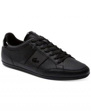 Lacoste Men's Chaymon Leather and Synthetic Black Sneakers