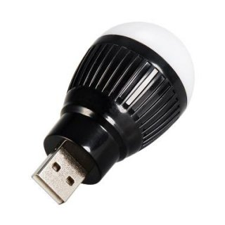 Universal Hitam USB Lampu LED Bulat