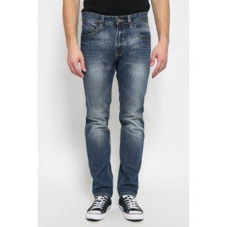 LGS - Slim Fit - Celana Jeans - Aksen Washed - Biru