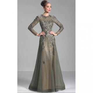 Elegan 2019 Bunda Gaun Pengantin A-line Lengan Panjang Tulle Renda Plus Ukuran