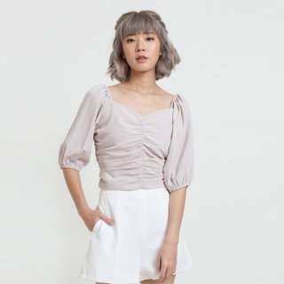 Cloth Inc Ruched Puff Sleeve Blouse