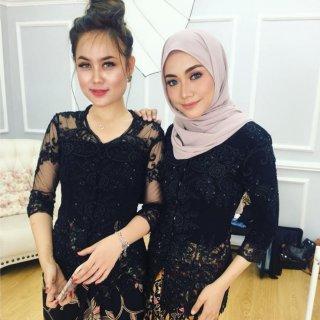 KD Fashion Kebaya Pesta Modern Kerah Sunda Lengan 7/8 Payet Semi Francis Mewah - Warna Hitam