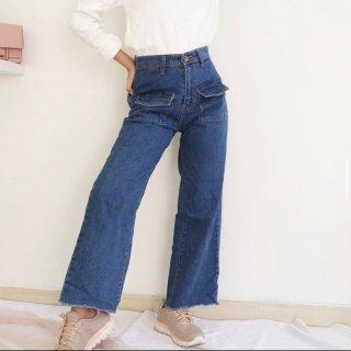 Tezza - Celana Kulot Jeans Wanita Kantong Depan