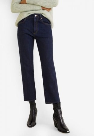 Mango-Straight-Fit Dark Wash Jeans