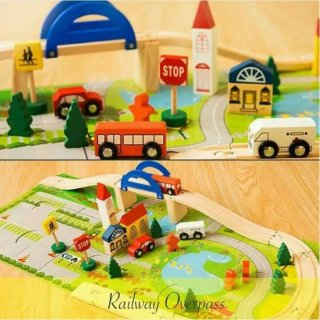 Rail Overpass Track Race Wooden Toys