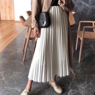 Women Long Maxi Pleated Skirt High Waist Cream Midi Skirts Dress