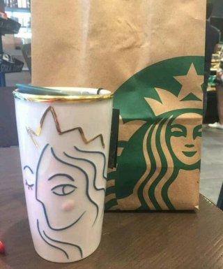Starbucks Tumbler DW Mug White Gold Siren Anniversary 2017 Collection