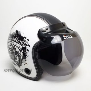 Helm Bogo Motif Old School Putih