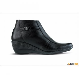 Golfer - Sepatu Kerja Wanita Kulit Boots Formal Hitam