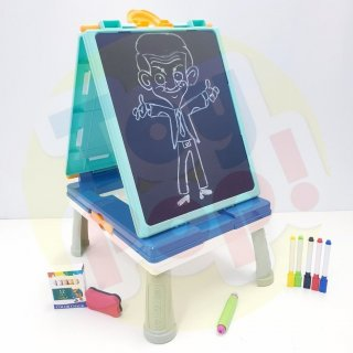 Mainan Edukasi 2 in 1 Drawing Board White Board Spidol dan Black Board Kapur