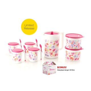 Pretty Flower Set Toples Plastik Perlengkapan Minum Tupperware