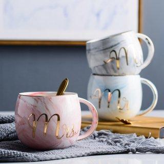 Marble Mug Round Belly Set Couple/ Gelas Mr Mrs/ Premium Wedding Gift