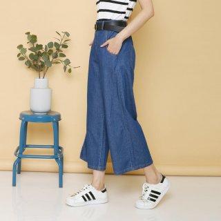 Hopylovy Celana Kulot Jeans Wanita Pocket Mayra