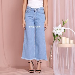 Floppyyups - Celana Kulot Jeans Wanita Highwaist Premium UNFINISH