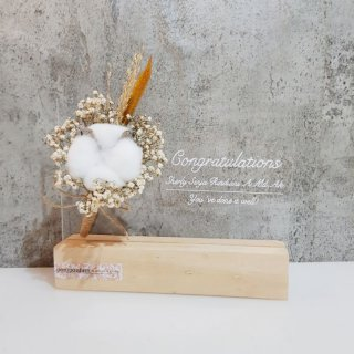 Wooden Acrylic Sign Dried Flower | Frame Akrilik Bunga Kering