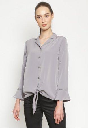 Valino Ladies Cuban Collar Tieed Shirt