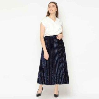 duapola Velvet Plisket Maxi Skirt