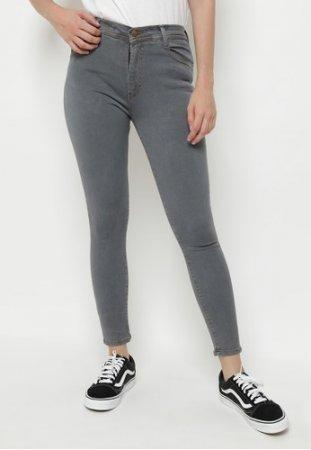 Celana Panjang Jeans Highwaist Wanita Grey Stretch Nuber