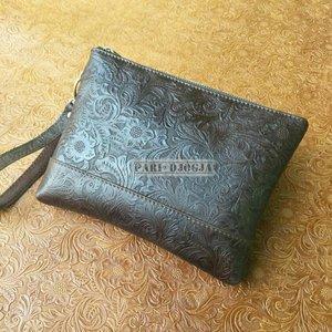 Handbags Pouch Clutch Wanita Kulit Sapi Asli Emboss Batik