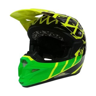 KYT Cross Over Net Cross Helm Motocross Yellow Flou/Black/Green Flou