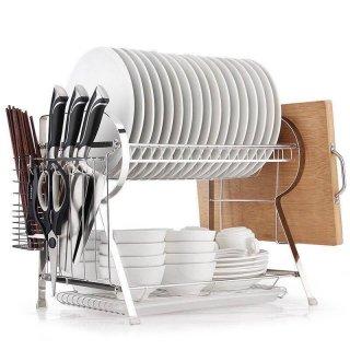 ES Rak Dapur Pengering Piring Rak Multifungsi Rak Penyimpanan Dish Drainer Rak Piring Carbon Steel