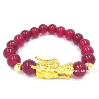 Gelang Batu Giok Merah Naga Emas