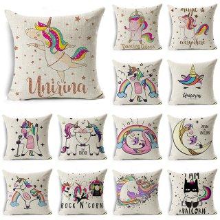 Sarung Bantal Sofa Desain Unicorn Pony Bahan Linen