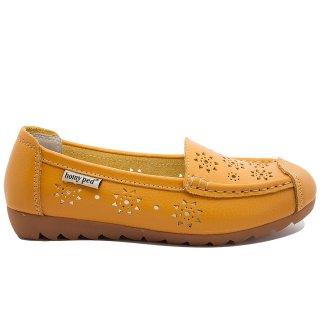 Homyped LNS 01 Sepatu Kulit Asli Wanita Kuning Tua